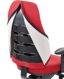View of the internal adjustable back straps in the ergonomic Orthopod by Therapod task chair