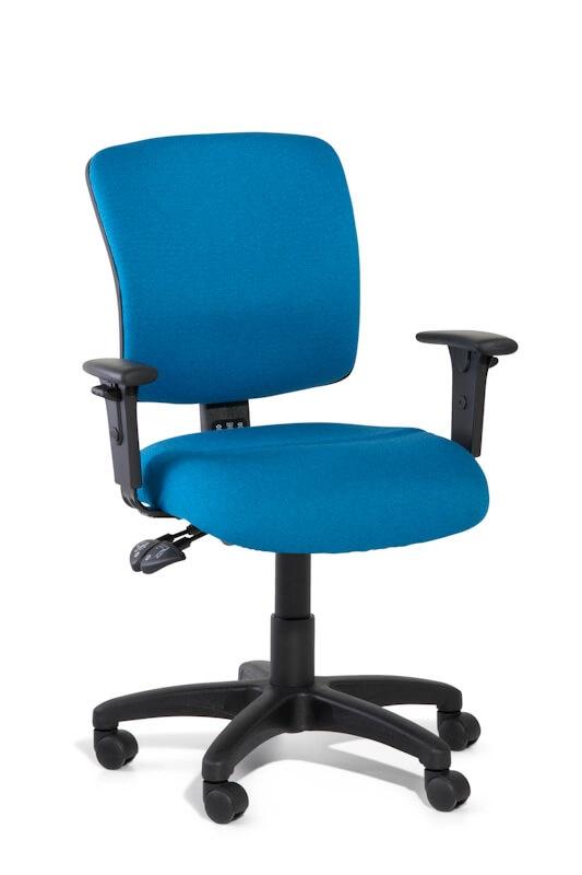 Blue upholstered ergonomic Task chair with medium square back and arms