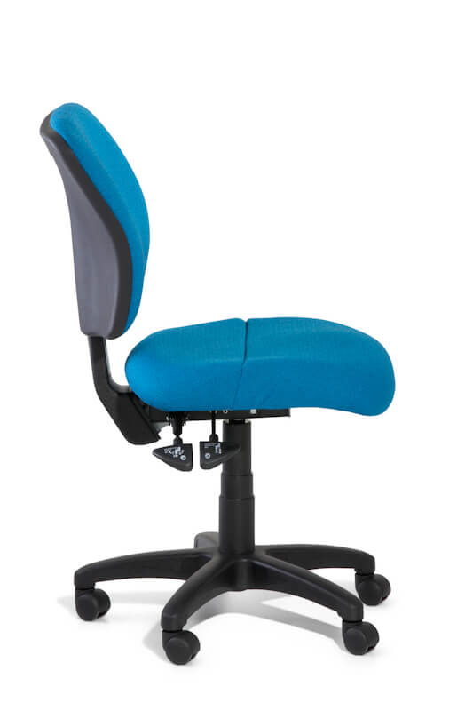 Boxta medium back task chair, blue upholstery with 3 lever mechanism and dual density seat foam, side view