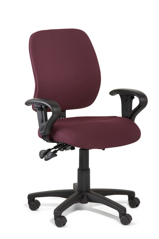 Slimline task chair, medium back with upholstered back and arms