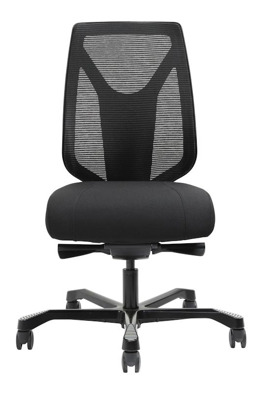 Serati Mesh, front view, mesh back in black, black uphosltered seat, black 5 star foot base on black castors with black levers