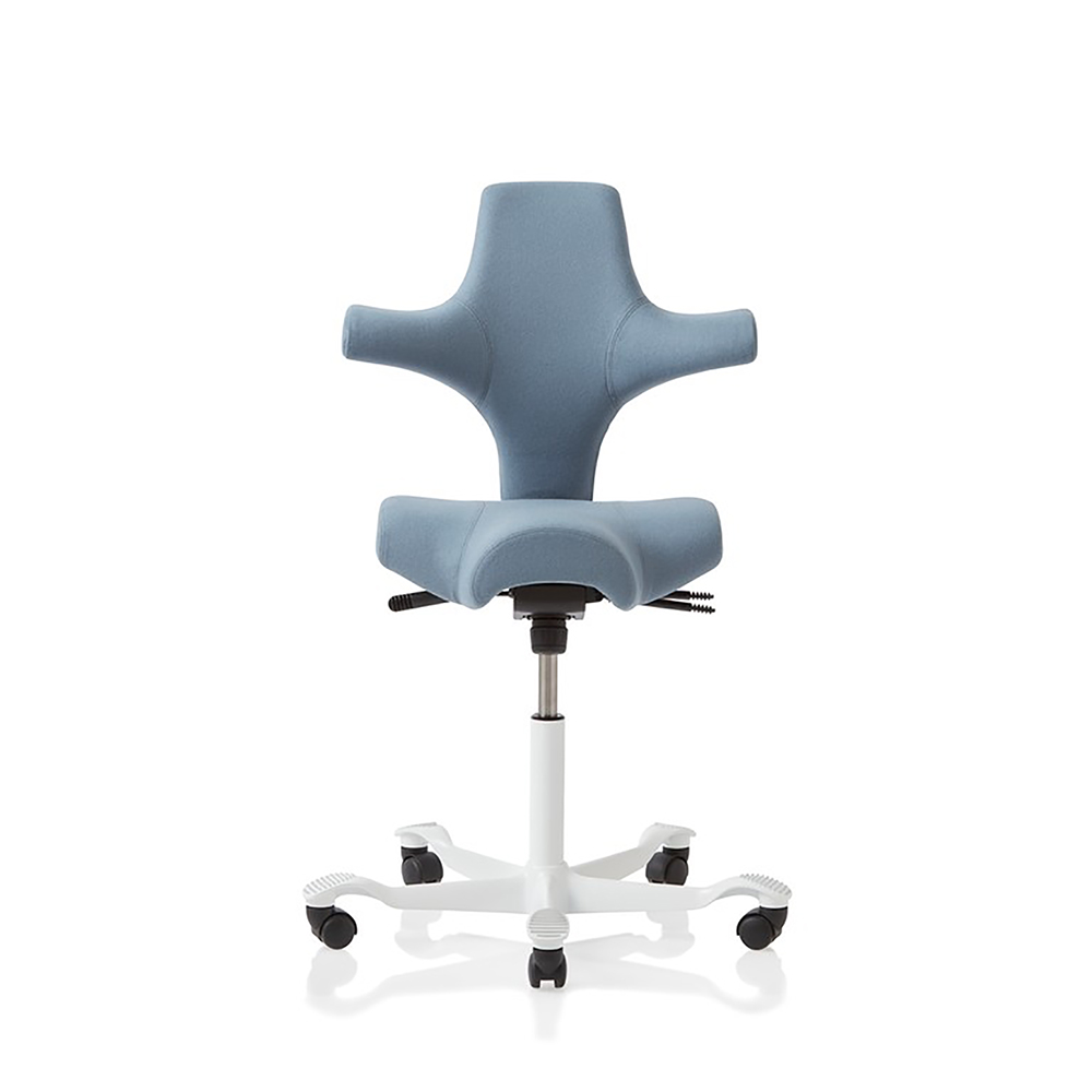 Hag Capisco saddle chair in blue with white 5 star base