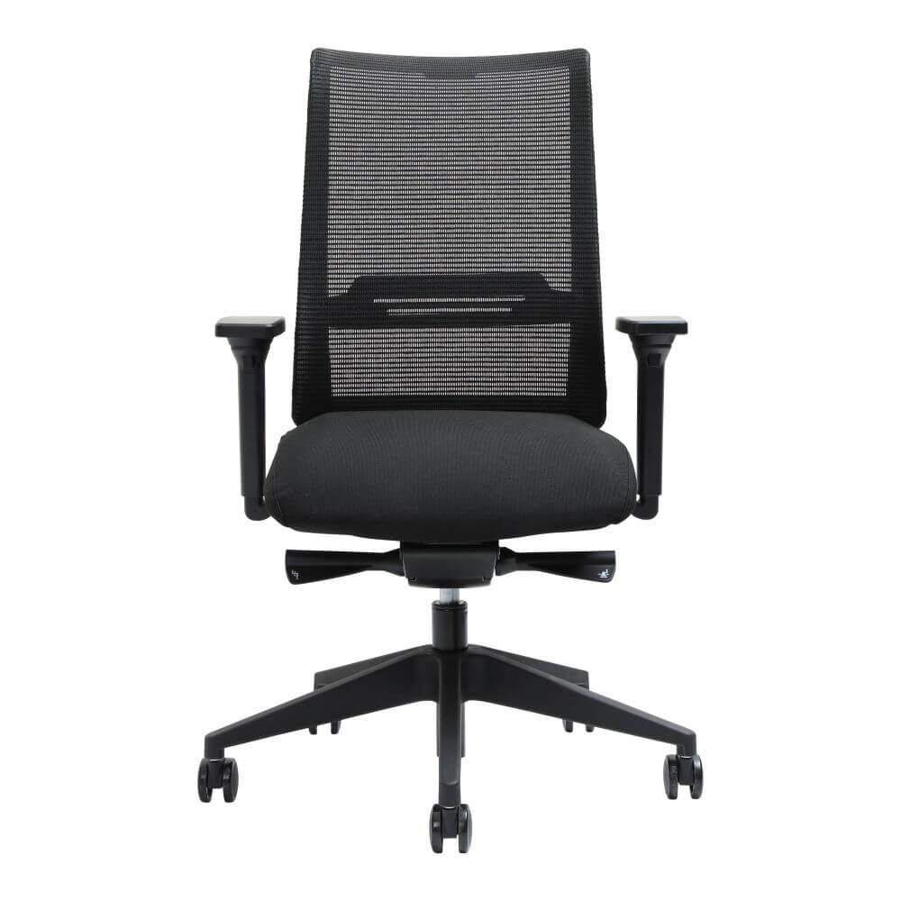 Zarella Mesh Back Task Chair with arms, black, front view