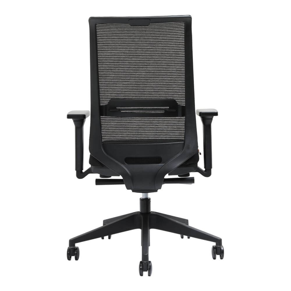 Zarella mesh back task chair rear view, black, with arms