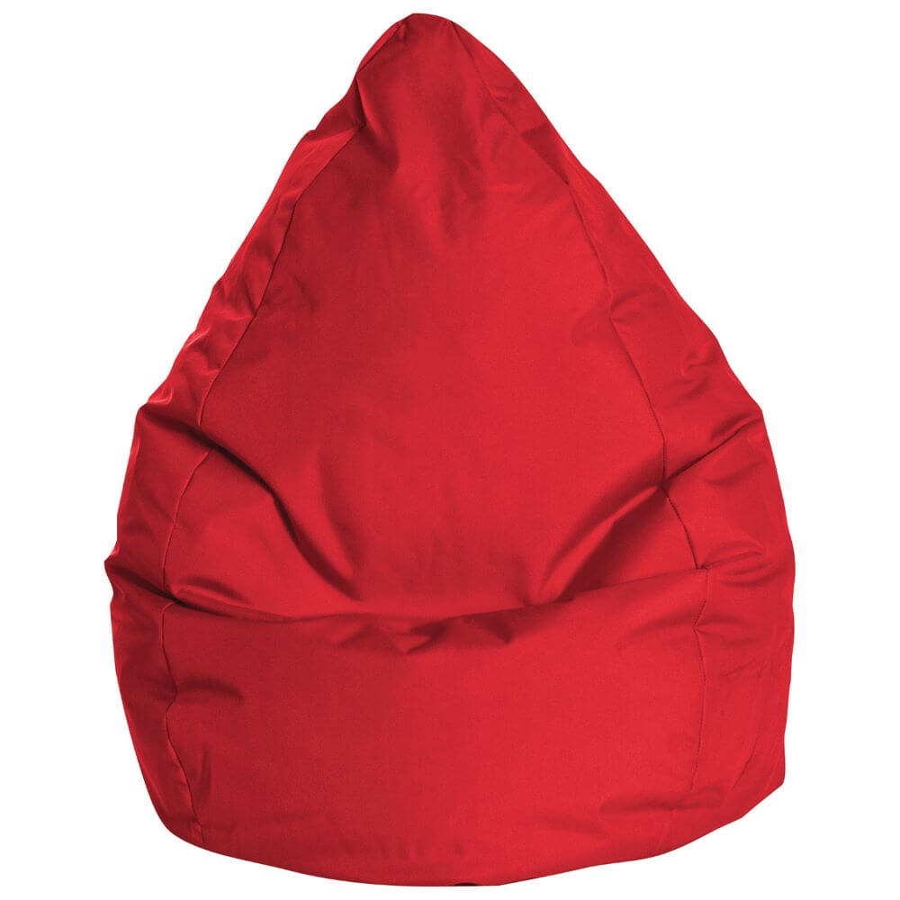 Teardrop Beanbags in red with pointed top and rounded base