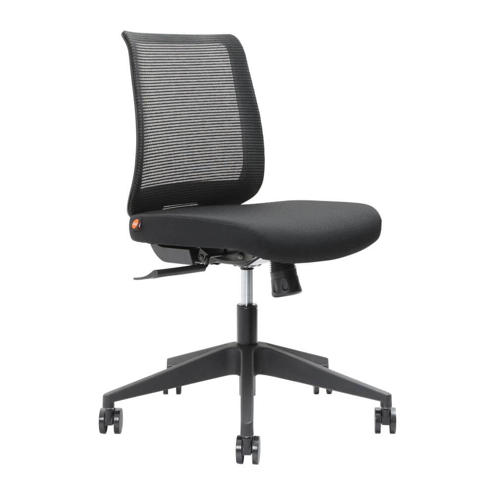 Brindis mesh back chair without arms, in black with low back option - front 45 degree view