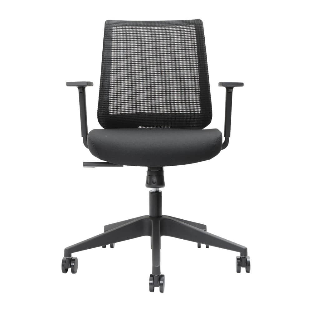 Brindis low back mesh back chair in black with arms and 5 star base on castors