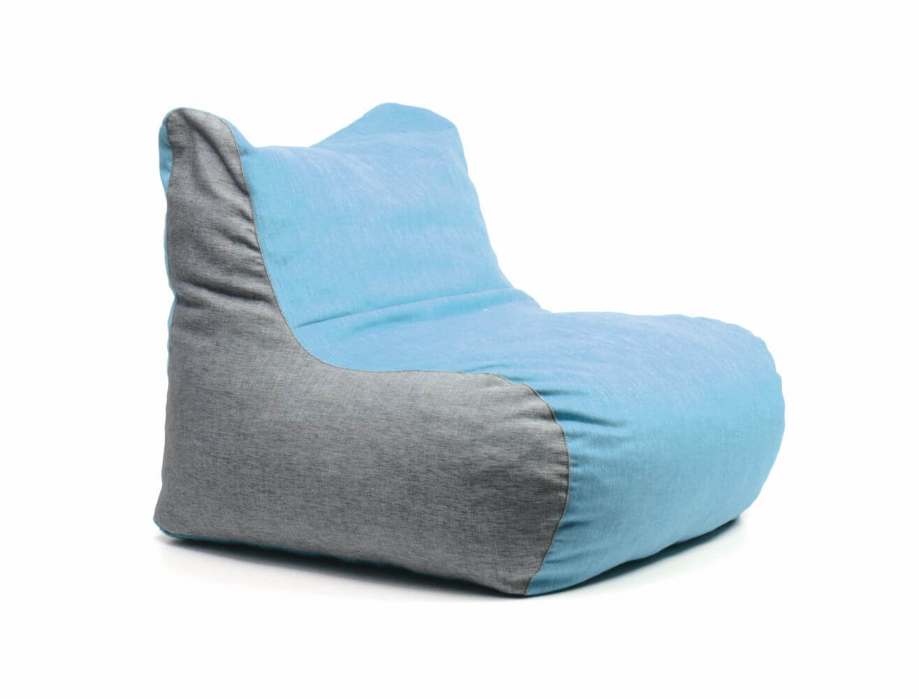 Chair bag in blue with grey sides, front 45 degree view - a more structured beanbag