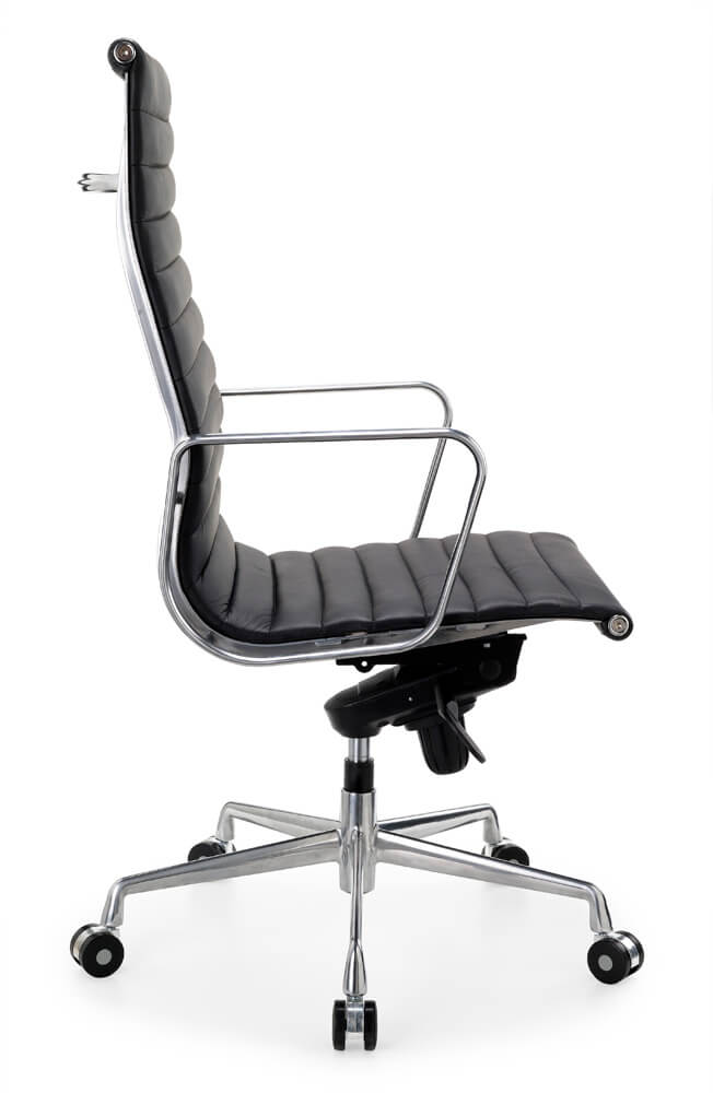 Contempo high back in black with silver frame and armrests with 5 star base on castors side view