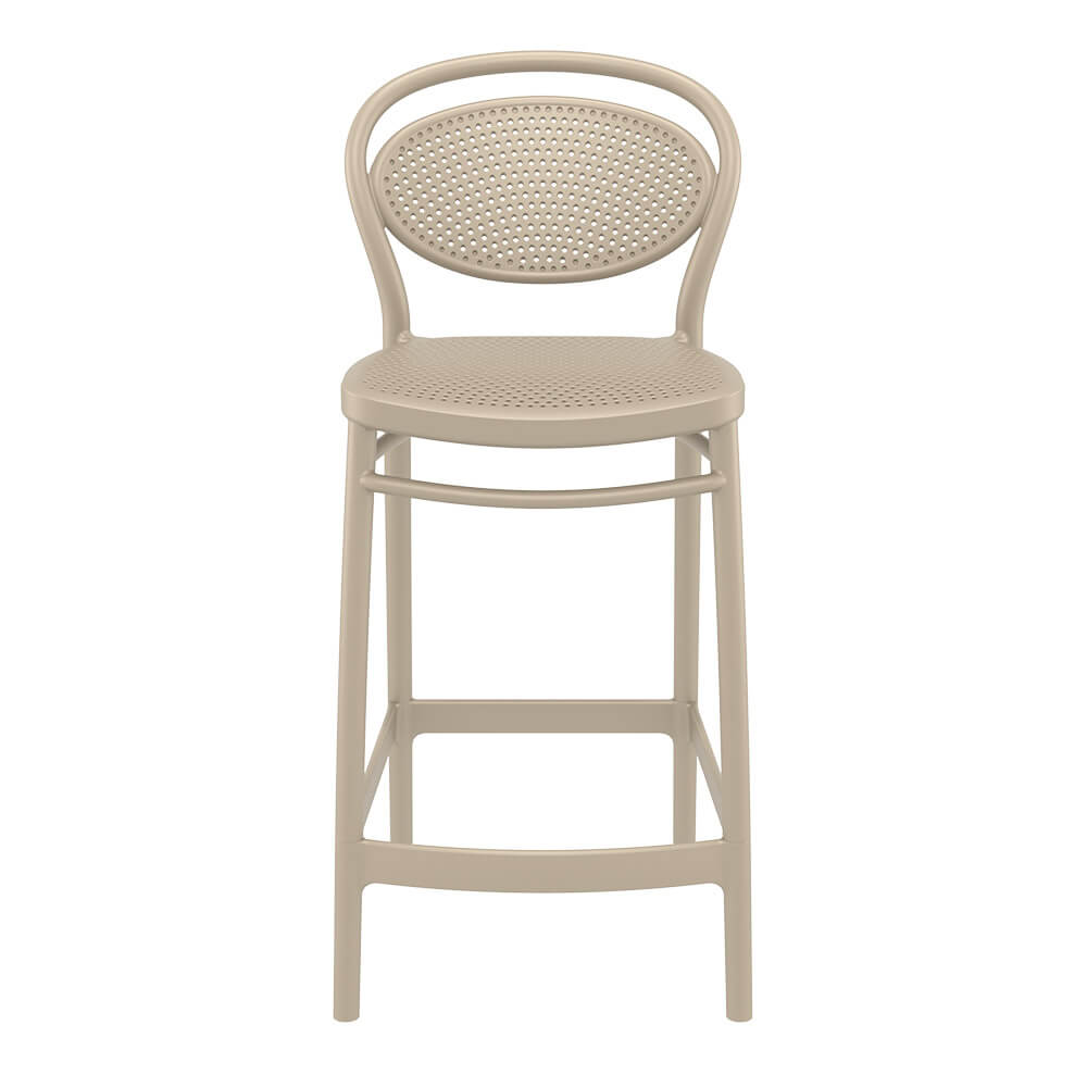 Marcel bar stool in taupe 650mm seat height front view