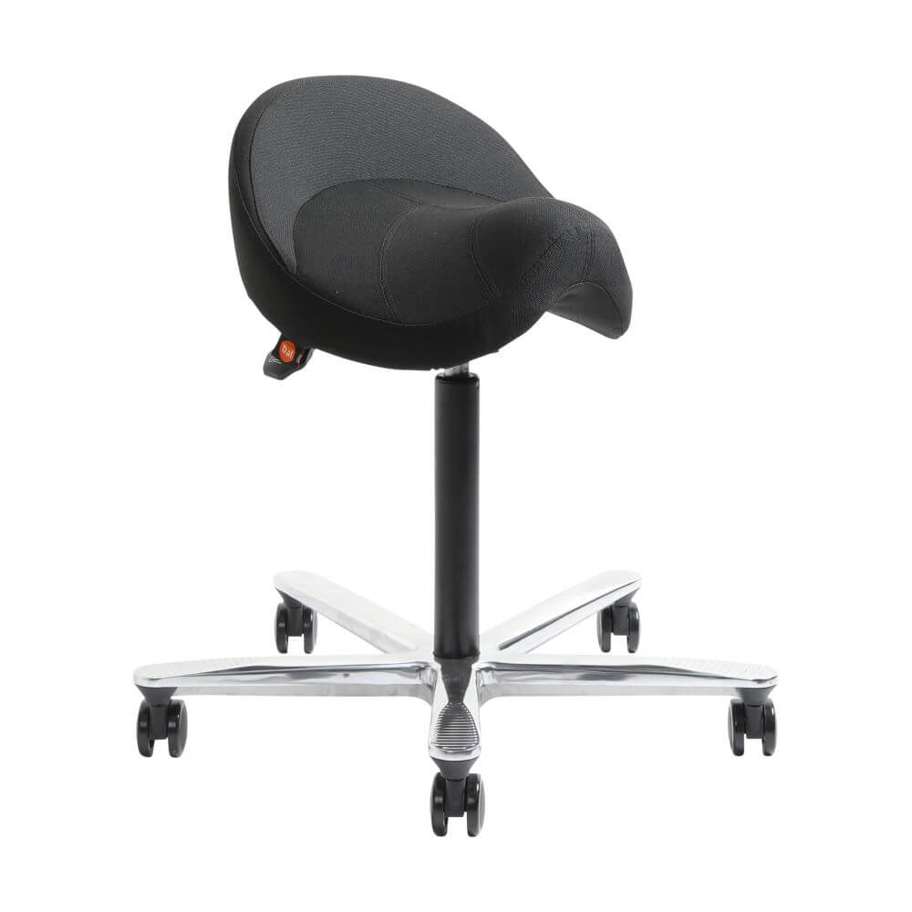 Norj in black with 2D mechanism, 5 star polished aluminium base front 45 degree view