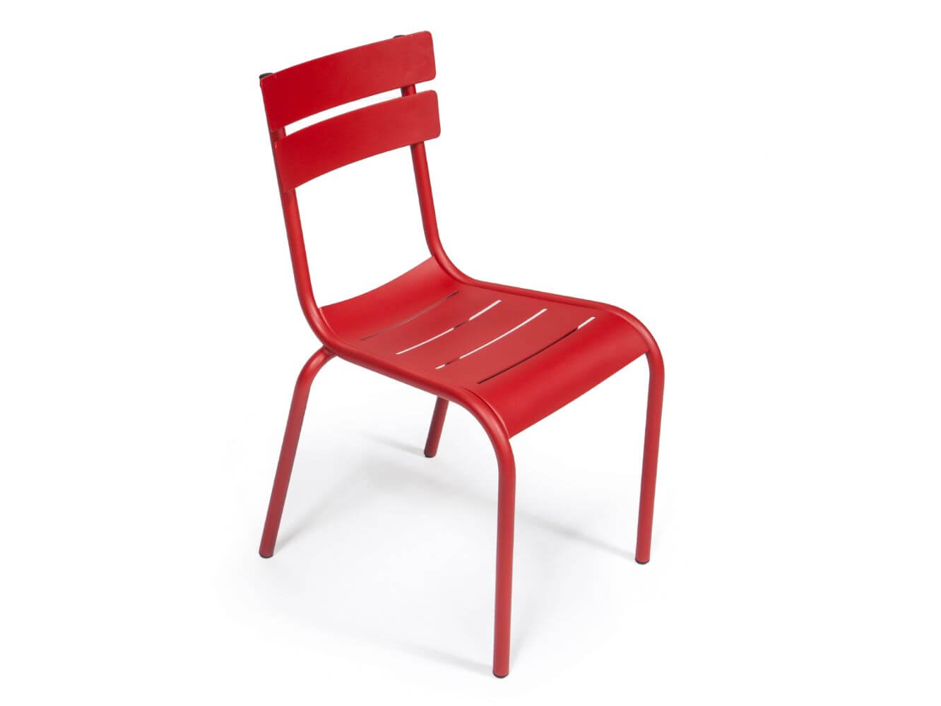 Porto aluminium chair in red, 4 leg base - view from above, no armrests
