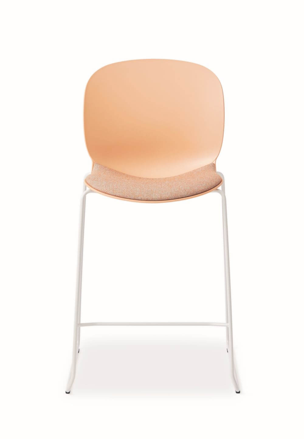 RBM Noor Stool in orange with orange seat pad, with white steel frame and foot rest