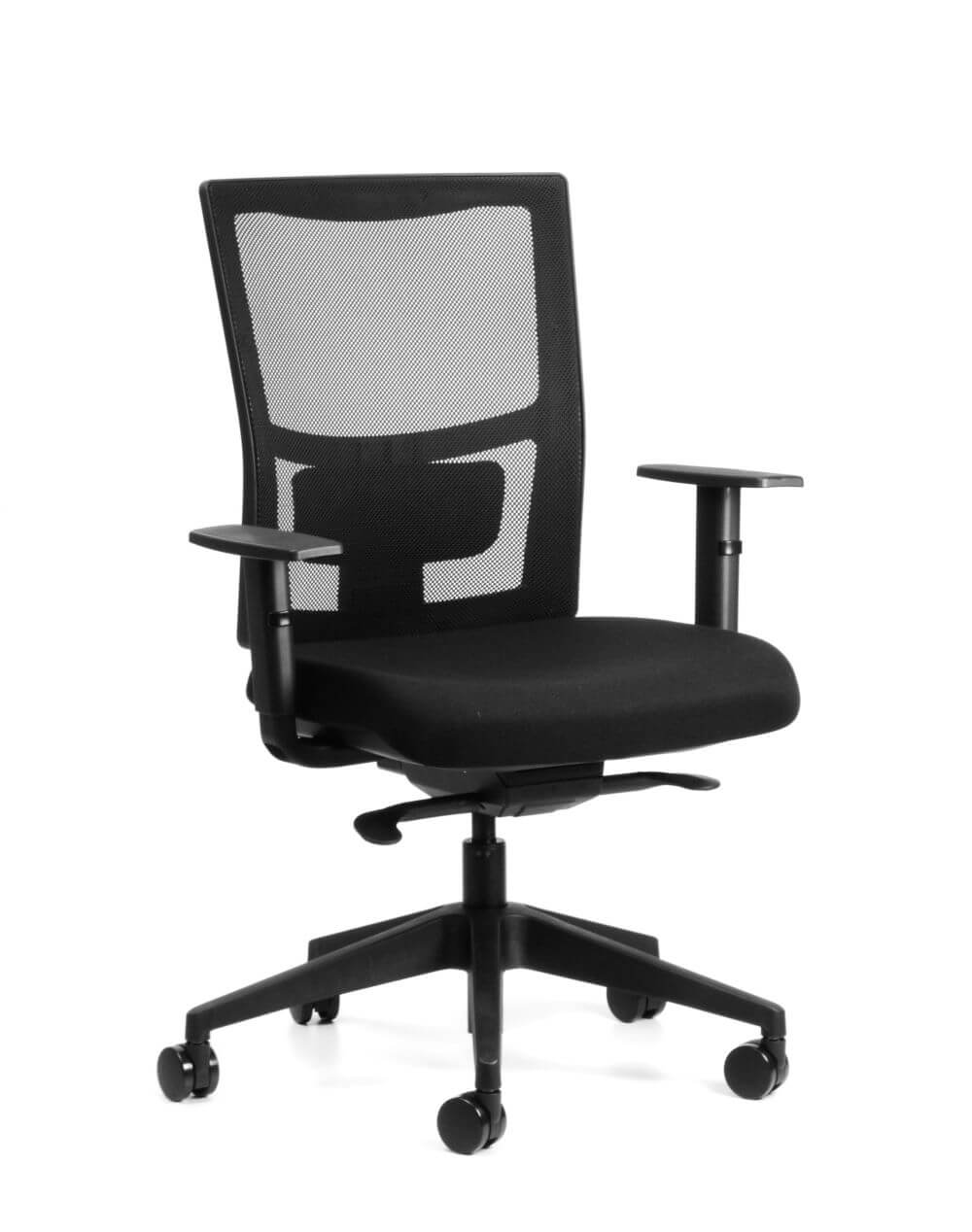 Team Sync in black mesh back, seat pad, armrests and 5 star base, front 45 view