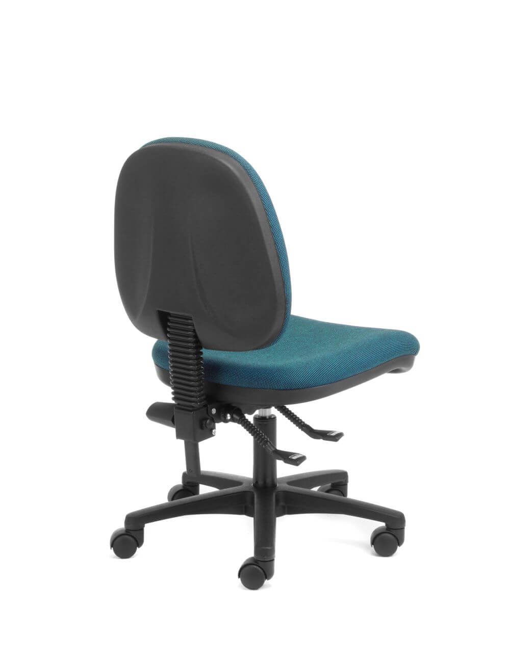 Alpha Logic mid back with black frame, 5 star base and blue upholstery, back view