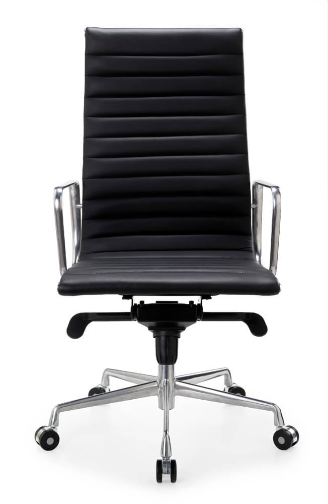 Contempo high back in black with silver frame and armrest 5 star base on castors front view