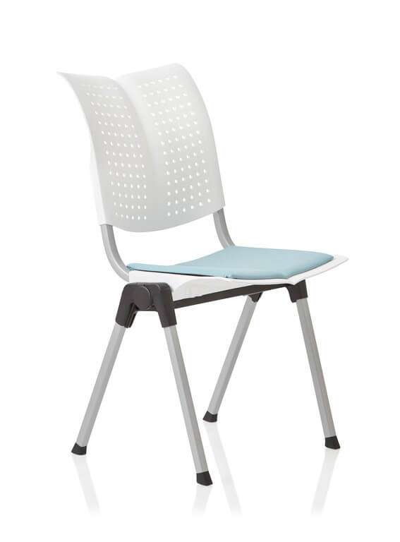Conventio Wing in white with blue seat pad, 4 leg base. perforated back with silver frame