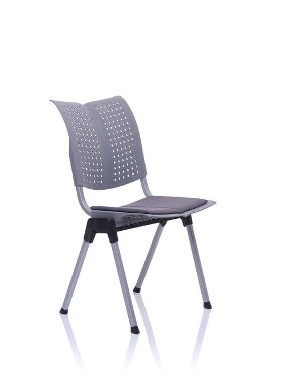 conventio wing in grey a perforated chair with seat pad and 4 leg base