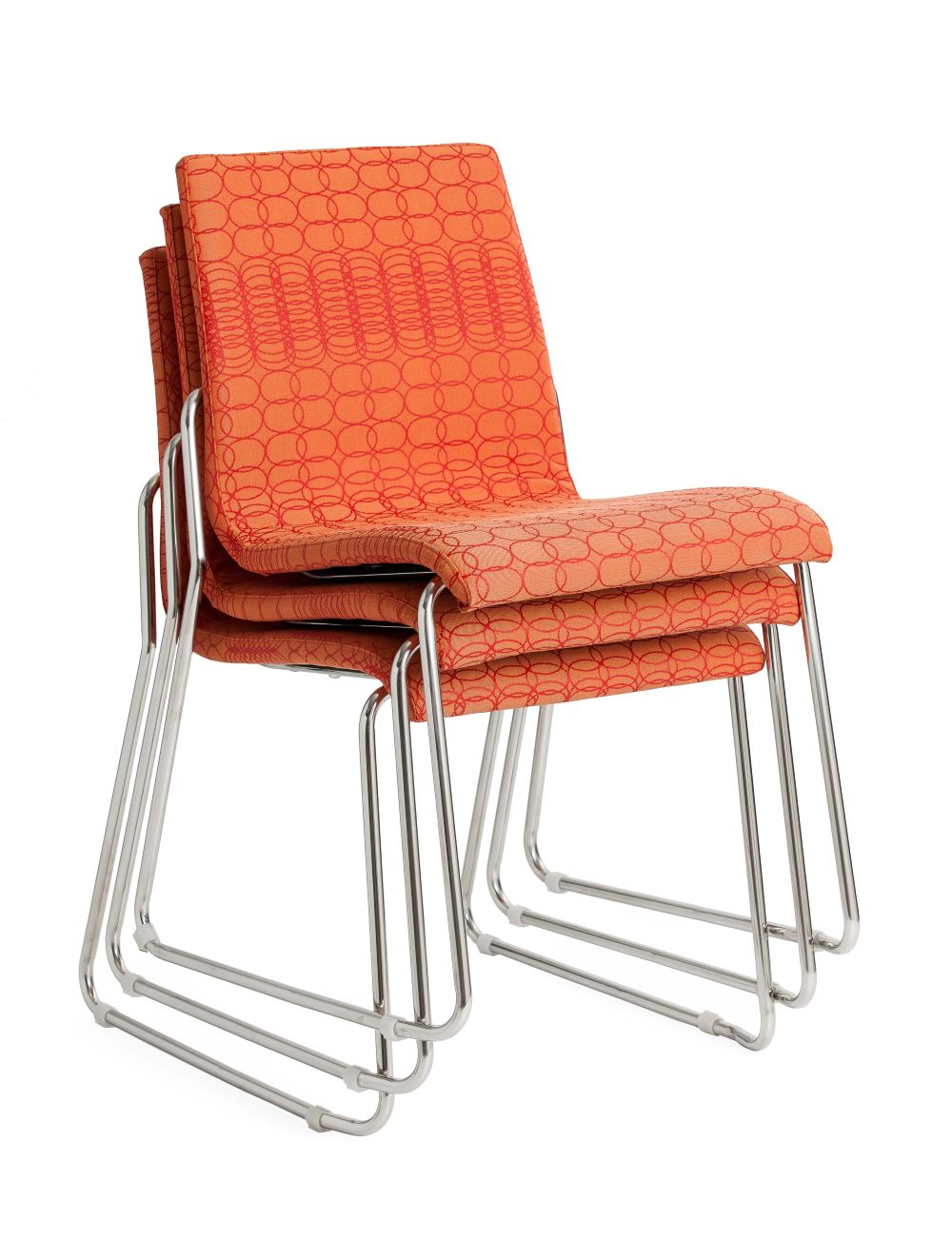 Design Sled Base in orange with silver frame stacked 3 high