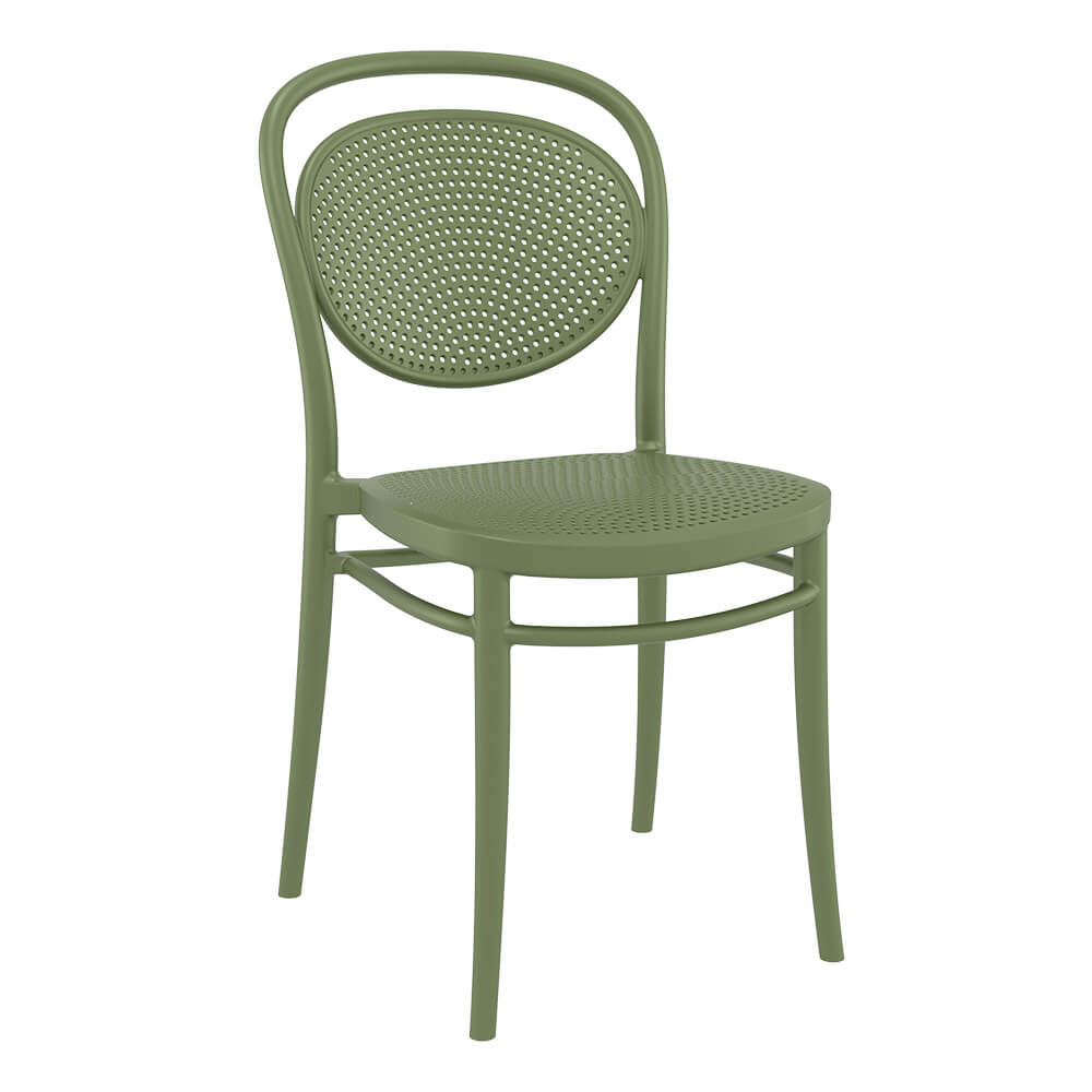 Marcel chair in green - 4 leg base - front side view
