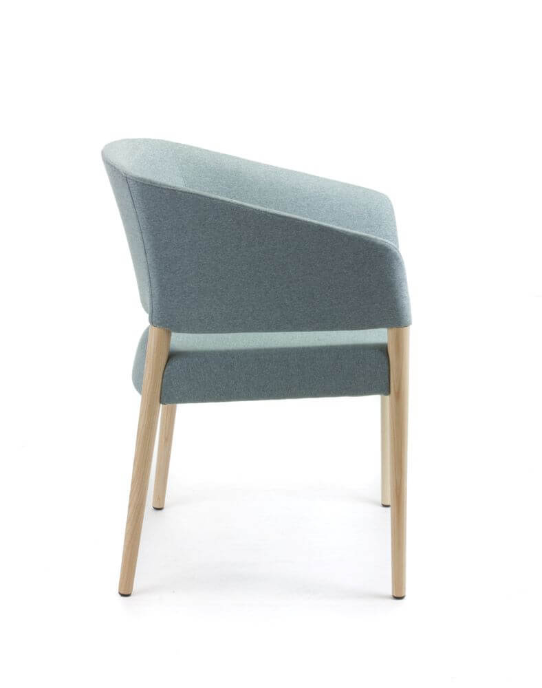 Marcela with grey upholstery and timber legs, side view
