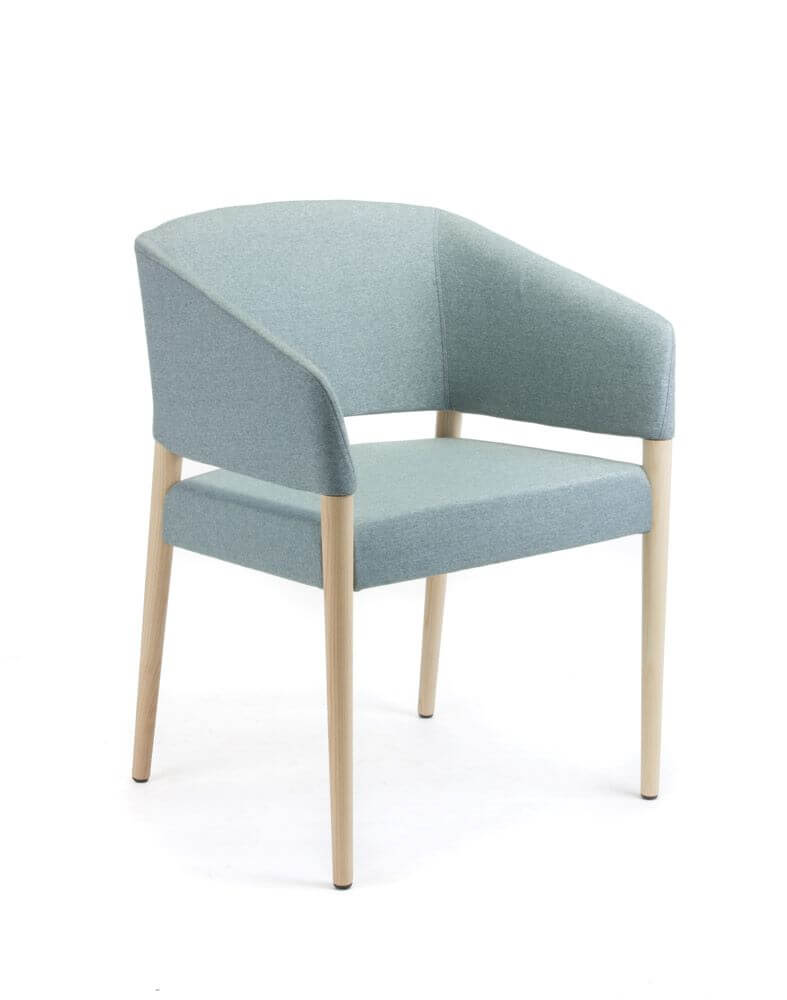Marcela with grey upholstery and timber legs front 45 degree view