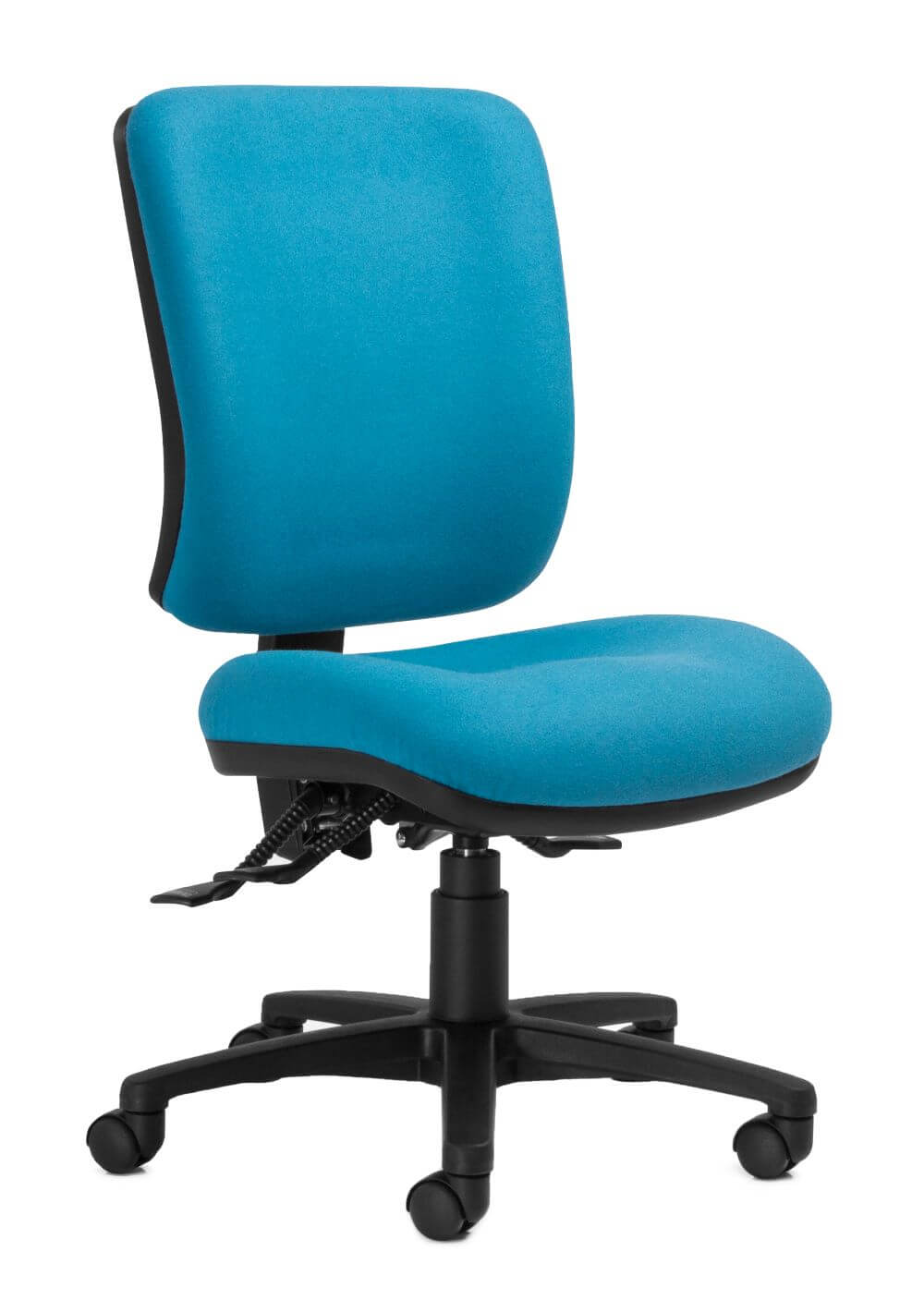 Rexa high back in light blue with black 5 star base and lever front 45 degree view