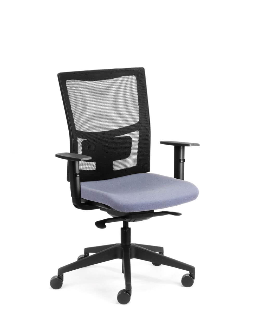 Team Sync with black mesh back, grey seat pad, black armrests and black 5 star base front view