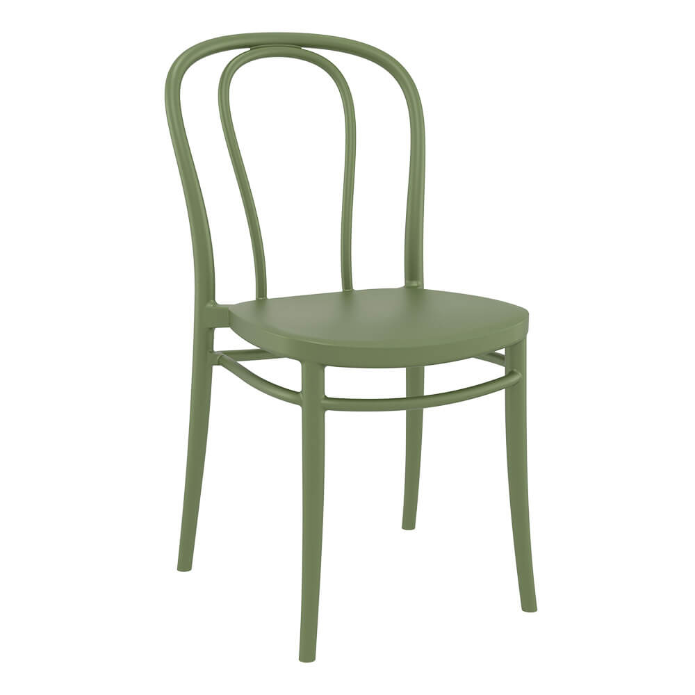 Victor chair in green, 4 leg base, front side view