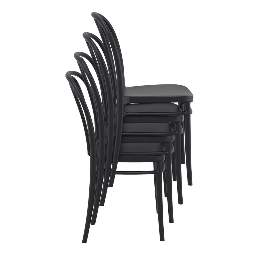 Victor chairs stacked 4 high in black side view