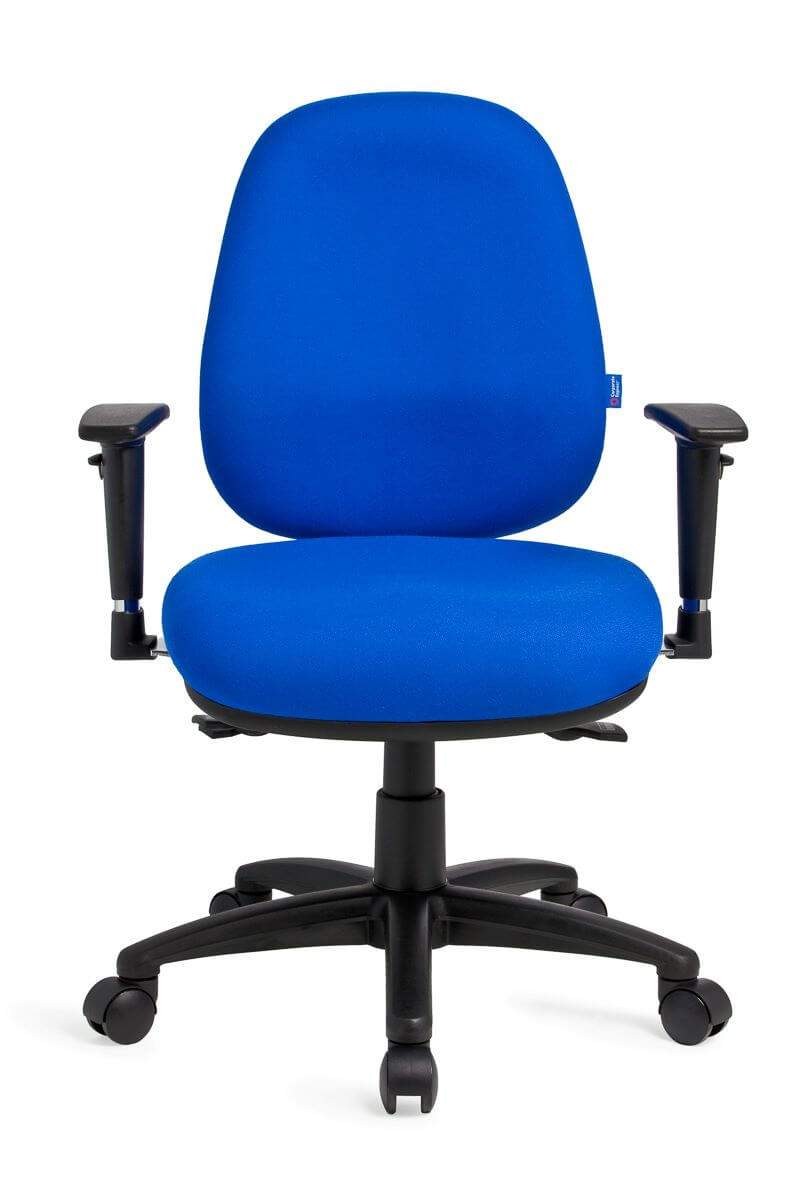 Delta Plus high back in royal blue with black arms and black 5 star base on castors front view