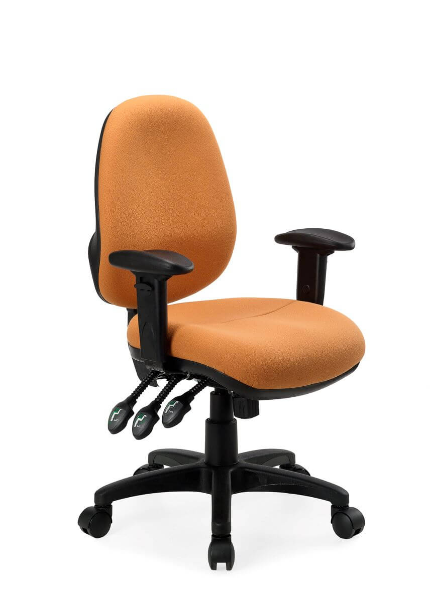 Delta Plu shigh back in orange with arms and comfort duo foam seat, with black arms and black 5 star base front 45 degree view