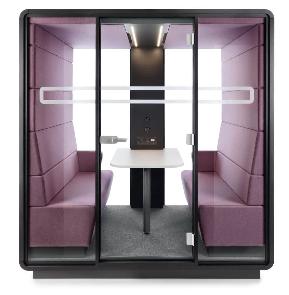 Hush Meet for 4 people with grey case and frame and purple upholstery and white table