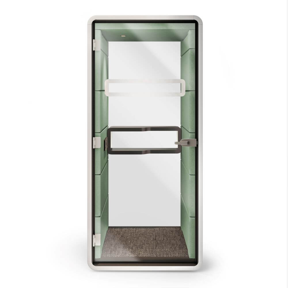 hush phone booth front view with green upholstery white case and grey frame