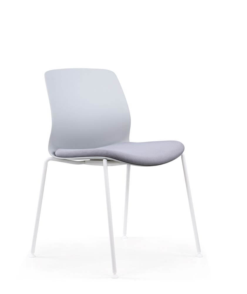 Juliet chair white shell and grey seat upholstery and 4 leg base front 45 degree view