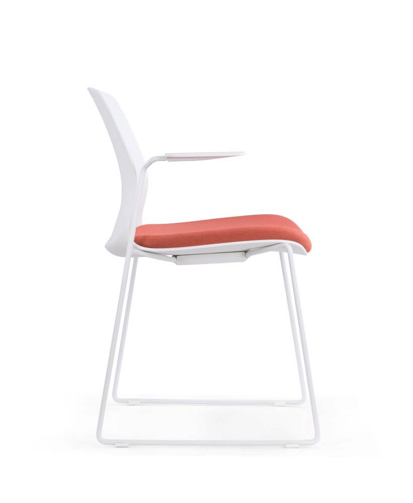 Juliet in white with red seat upholstered pad with sled base and arm rests side view