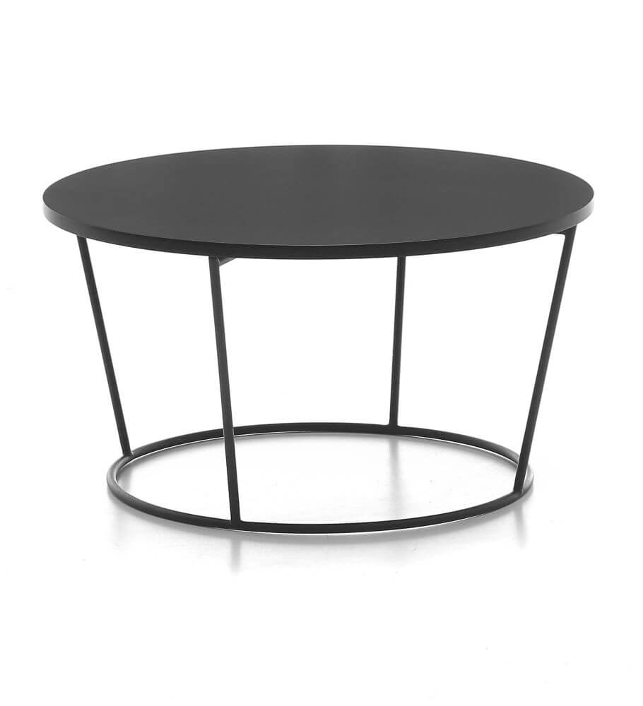 Pinto Coffe Table in black, the table has a larger diameter top with a smaller diameter base