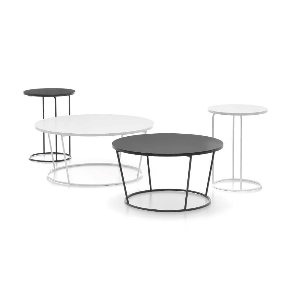Pinto table range, two laptop tables and two coffee tables, each with one black and one white option