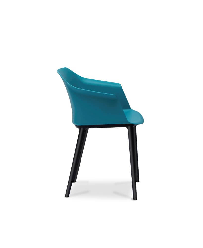 Aurora tub chair in blue with black legs, side view