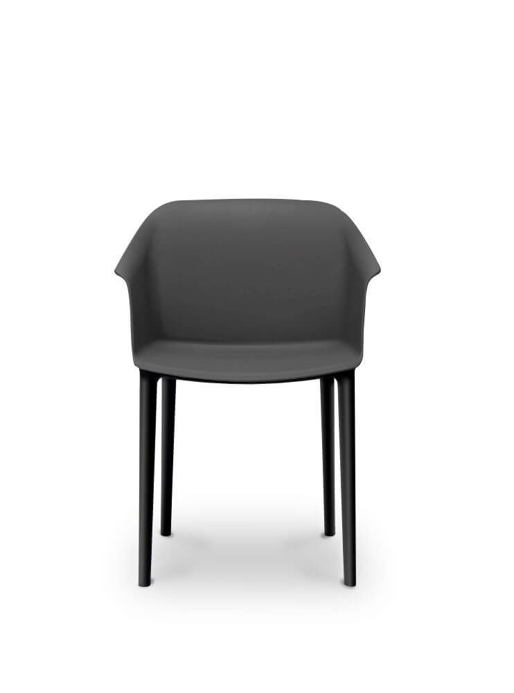 Aurora tub chair in black with black legs, front view