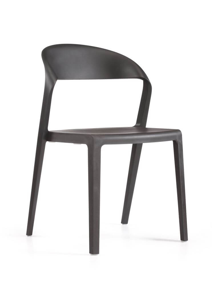 DuoBlock chair in black, front 45 degree view
