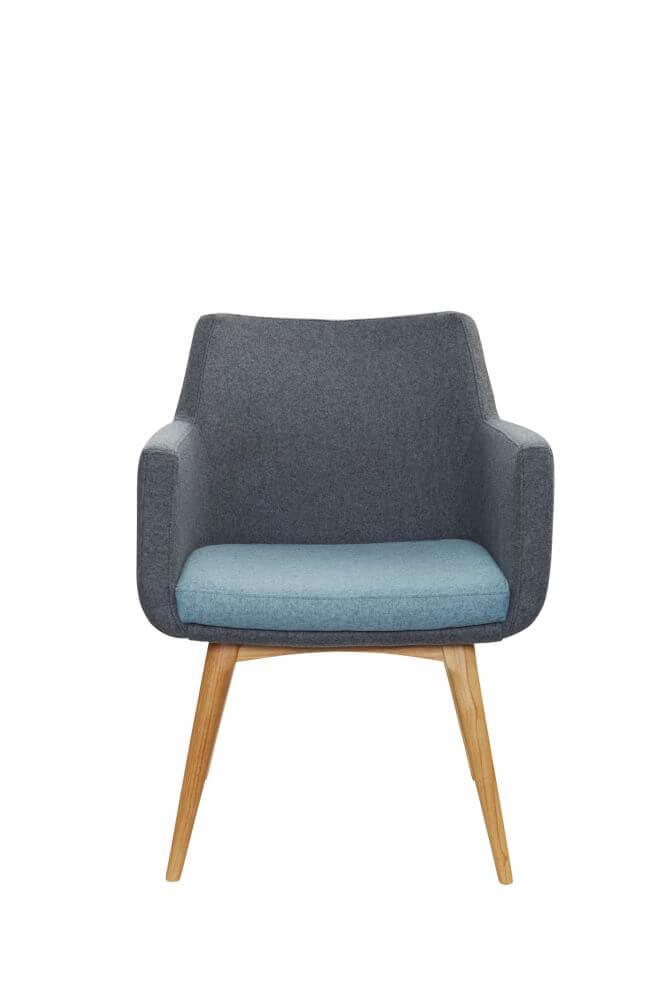 Hady chair with 4 leg wooden , upholstered in grey with blue seat, front view