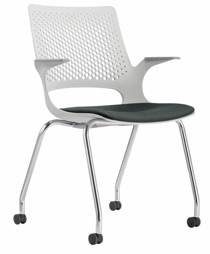 Harmony with 4 leg frame on castors, white shell, black seat pad and chrome frame