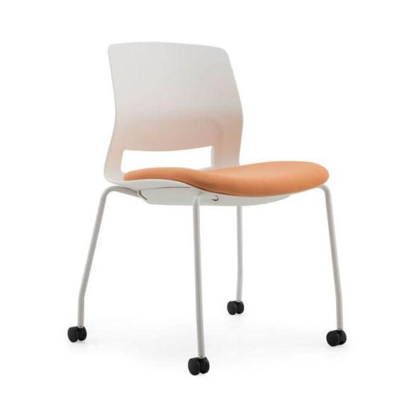 Lila with orange seat pad, front 45 degree view, white shell, 4 leg base