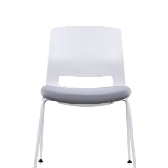 Lila with grey seat pad, front view on glides, white shell