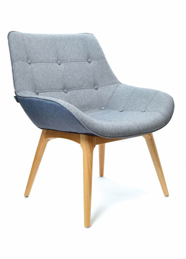Neo timber 4 leg base, upholstered in grey front 45 degree view