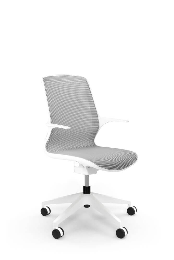 Ovidio in white frame and grey mesh back, with 5 star base on black castors