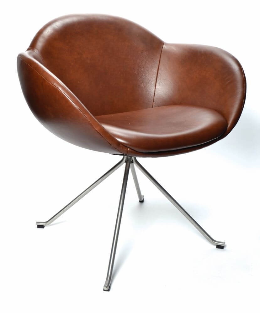 Searl pyramid swivel base, upholstered in brown leather