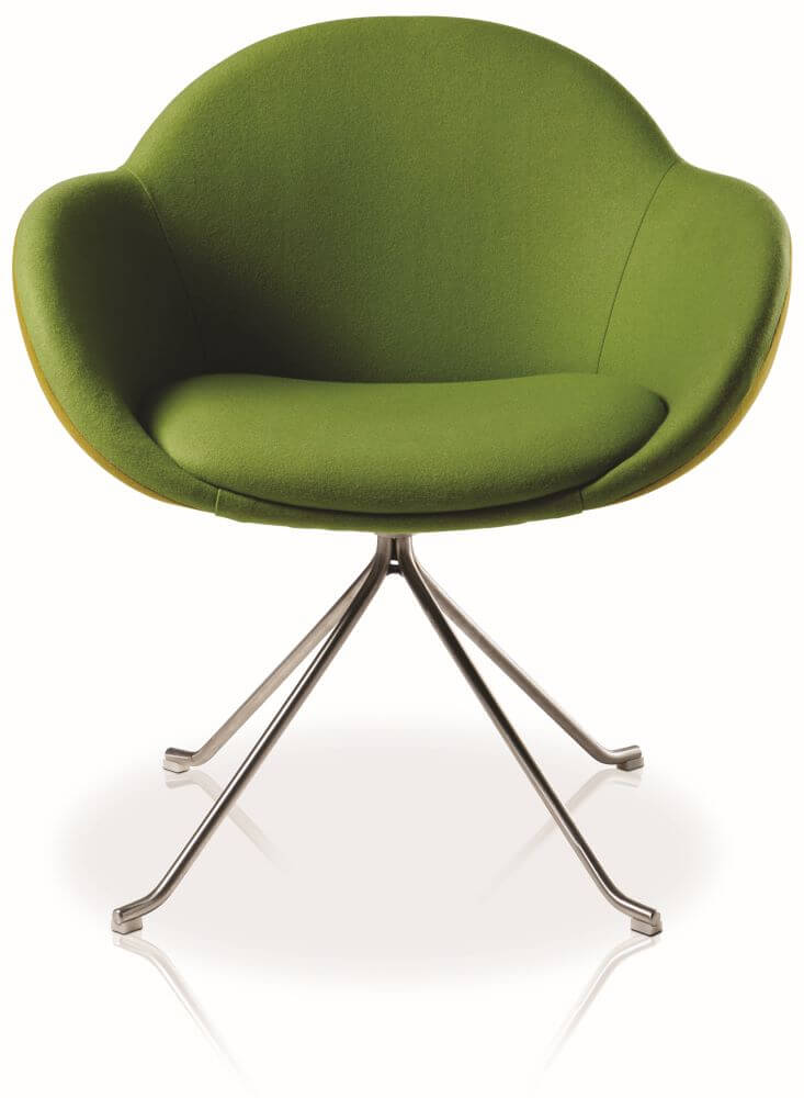 Searl 4 star pyramid swivel base, upholstered in green front view