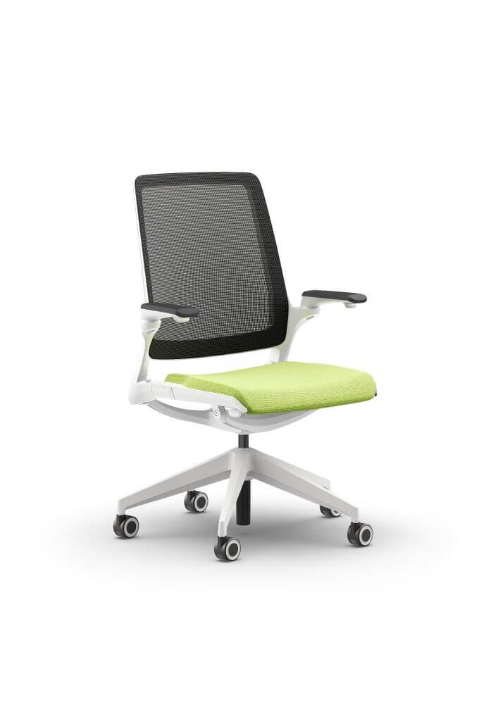 Selfie in white frame, black mesh back, 5 star base on castors, green seat pad upholstery, armrests